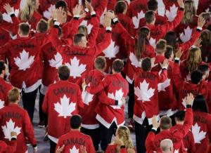 Team Canada arrives during the opening ceremony for the 2016 Summer Olympics in Rio de Janeiro, Brazil, Friday, Aug. 5, 2016. (AP Photo/Charlie Riedel)